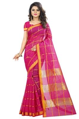 Pink woven manipuri silk saree with blouse