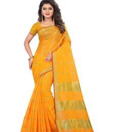 Yellow woven manipuri silk saree with blouse