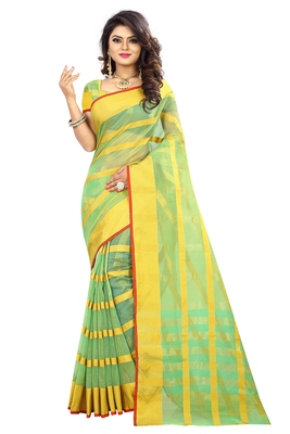 Parrot green woven manipuri silk saree with blouse