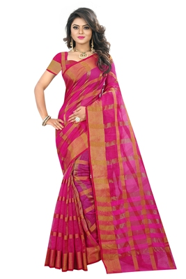 Pink woven manipuri silk saree with blouse
