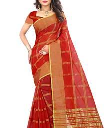Maroon woven manipuri silk saree with blouse
