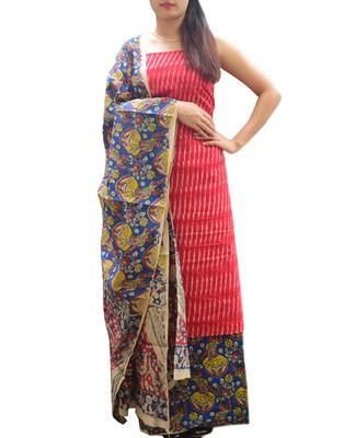 9d137ffe58 Ikat & Kalamkari Block Print Cotton Suit-Red - Richa Pandey - 2646256