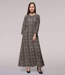 Buy Brown Tie-up Waist Dabu-printed Cotton Dress dress online