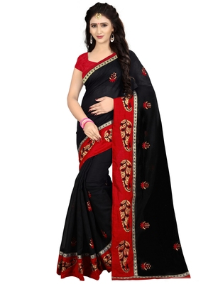 Black embroidered chanderi cotton saree with banglori blouse
