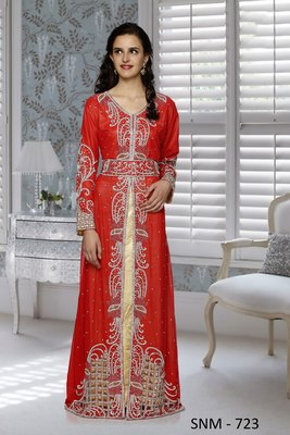 Red And Golden Embroidered Faux Georgette  And  Satin Stitched Islamic Kaftans