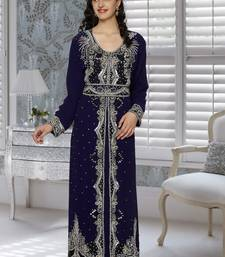 Navy blue embroidered faux georgette stitched islamic kaftans