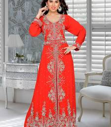 Red embroidered faux georgette stitched islamic kaftans
