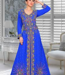 Blue Embroidered Faux Georgette Stitched Islamic Kaftans