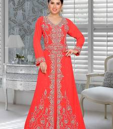 Coral Embroidered Faux Georgette Stitched Islamic Kaftans
