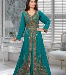 Teal embroidered faux georgette stitched islamic kaftans