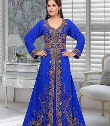 Royal blue embroidered faux georgette stitched islamic kaftans