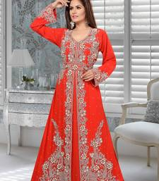 Orange Embroidered Faux Georgette Stitched Islamic Kaftans