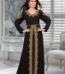 Black Embroidered Faux Georgette Stitched Islamic Kaftans