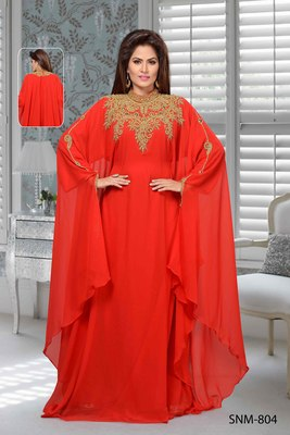 Red Embroidered Faux Georgette Stitched Farasha