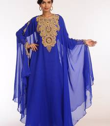 Royal Blue Georgette Hand Woven Stitched Islamic Kaftans