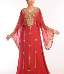 Maroon Georgette Hand Woven Stitched Islamic Kaftans