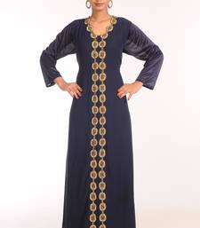 Navy Blue Georgette Hand Woven Stitched Islamic Kaftans
