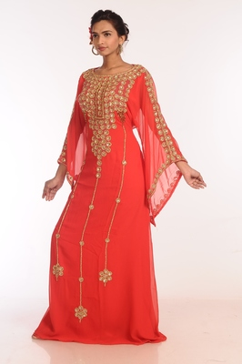 Peach Georgette Hand Woven Stitched Islamic Kaftans