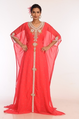 Tomato Georgette Hand Woven Stitched Islamic Kaftans