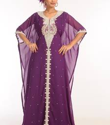Purple georgette hand woven stitched islamic kaftans