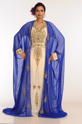 Multicolor georgette hand woven stitched islamic kaftans with jacket