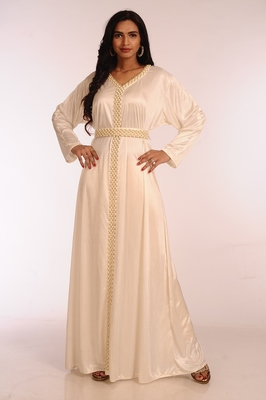 Cream georgette hand woven stitched islamic kaftans
