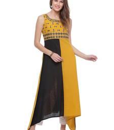 black Embroidered with mirror work Cotton stitched kurti