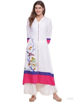 White Embellished Rayon stitched kurti
