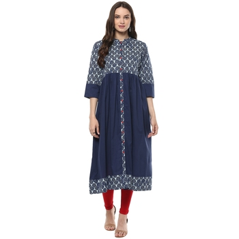 Indigo Hand Block Printed Cotton stitched kurti