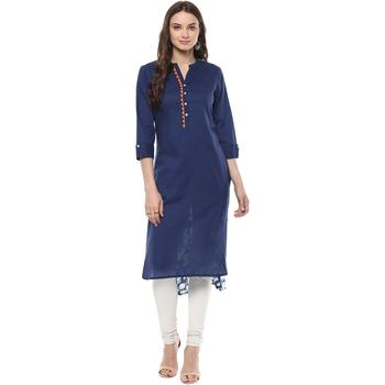 Indigo Hand Block Printed Cotton stitched kurti