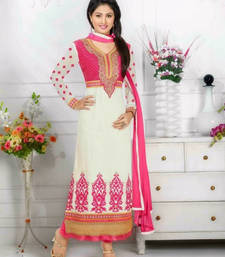 Buy White embroidered georgette semi-stitched salwar with dupatta party-wear-salwar-kameez online