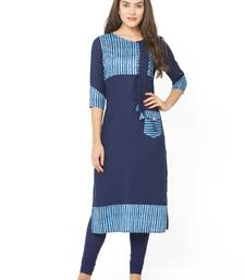 Dark-blue printed cotton kurtis