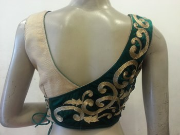 Golden and green velvet blouse