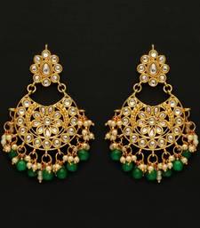 Green Color Imitation pearl Kundan Earrings