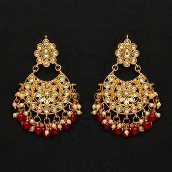Maroon Color Imitation pearl Kundan Earrings