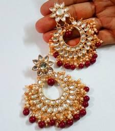 Maroon Color Imitation Pearl Kundan Earrings