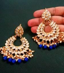 Blue Color Imitation pearl Kundan Earrings