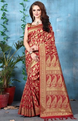 Red woven banarasi silk blend saree with blouse