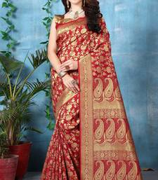 Buy Red woven banarasi silk saree with blouse great-indian-saree-festival online