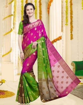 4631f5109f Dark Pink & Green Color Banarasi Silk Saree With Blouse Piece - Viva N Diva  - 2647576