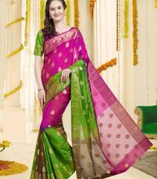 Dark Pink & Green Color Banarasi Silk Saree With Blouse Piece