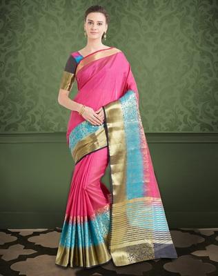 Dark Pink & Blue Color Banarasi Silk Saree With Blouse Piece