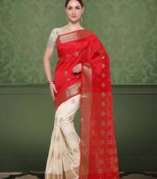 Buy Red & Cream Color Banarasi Silk Saree With Blouse Piece durga-puja online