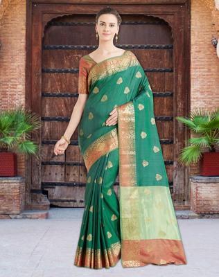 b488cf467efa92 Shaded Green Color Banarasi Silk Saree With Blouse Piece - Viva N Diva -  2647589