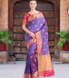 Shaded Purple Color Banarasi Silk Saree With Blouse Piece