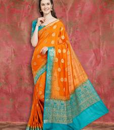 Orange Color Banarasi Silk Saree With Blouse Piece