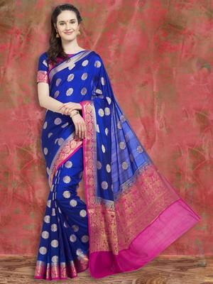 Royal Blue & Pink Banarasi Silk Saree With Blouse Piece