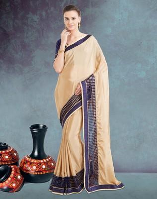 Beige plain satin saree with blouse