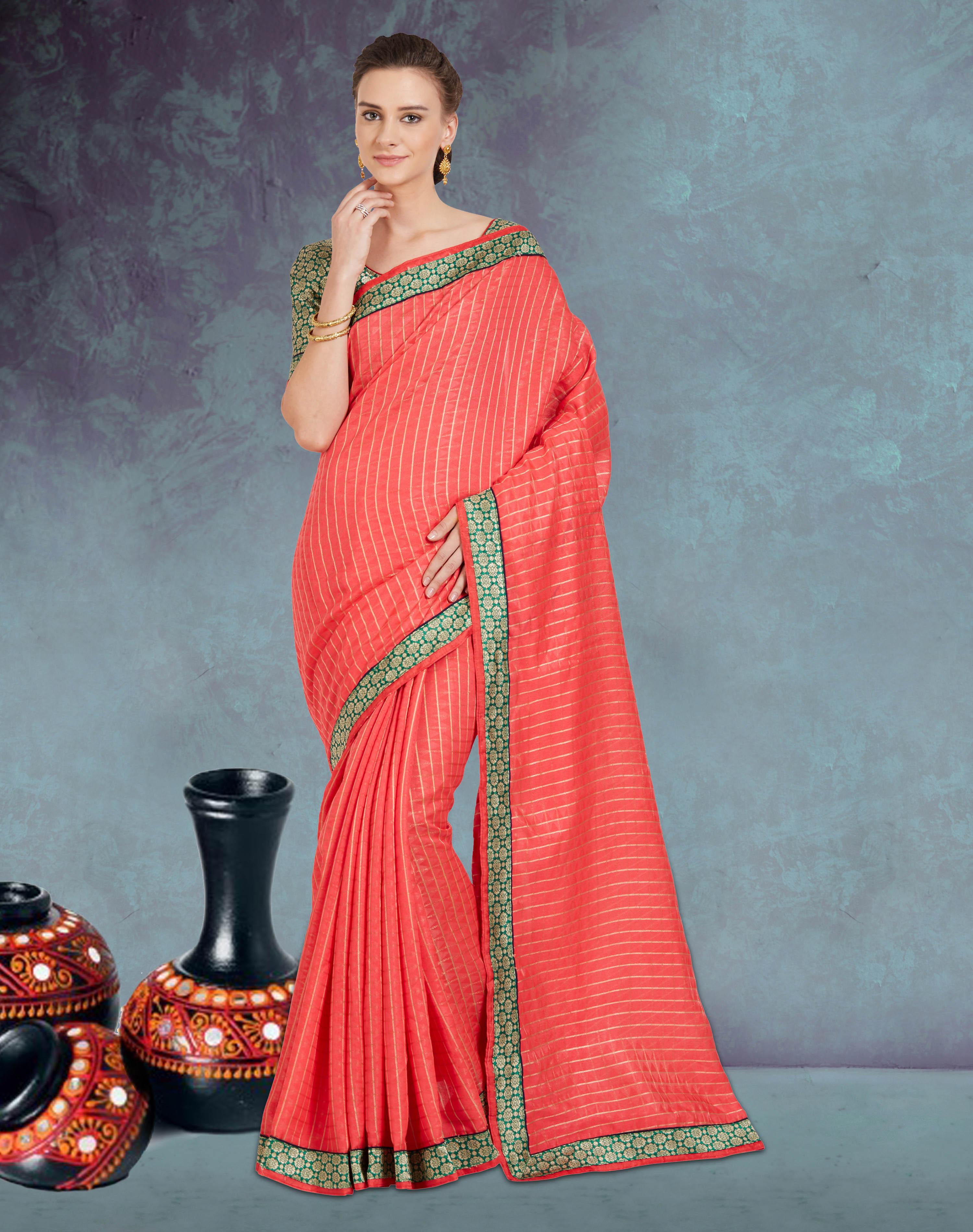 bef911b5085ac0 Peach plain cotton silk saree with blouse - Viva N Diva - 2647771