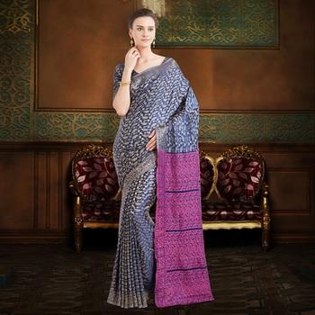 Blue brasso silk saree with blouse